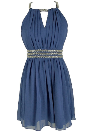 Silver and Blue bridesmaids dress