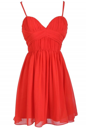Red Chiffon Bridesmaids Dress