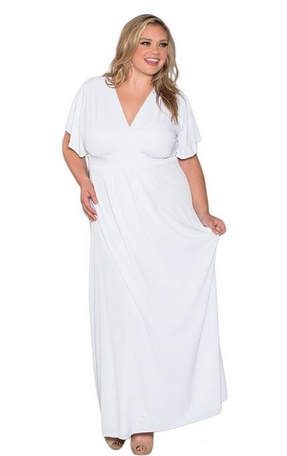 full figured maxi beach wedding gown