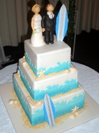surf themed wedding cake
