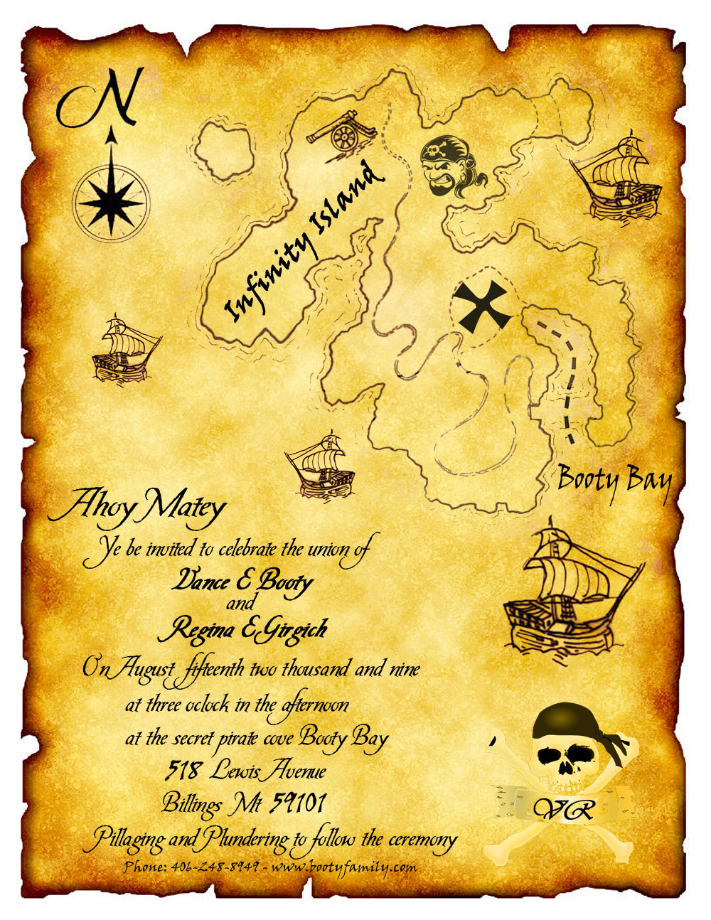 Treasure Map Handmade Beach Wedding Invitations