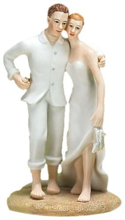 Beach Wedding cake topper Barefoot on the beach
