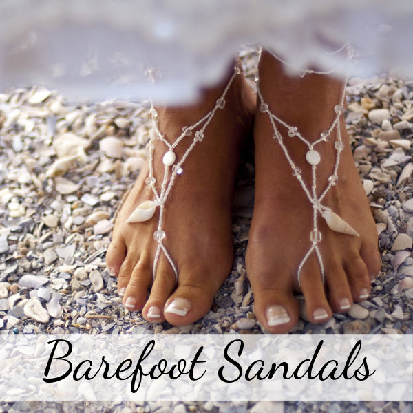 Barefoot sandals beach wedding jewelry