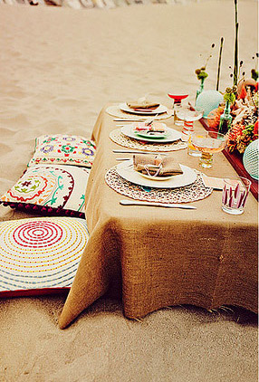 Burlap Table Cloth - Beach Wedding