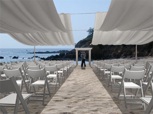 Ceremony Shade Beach Wedding