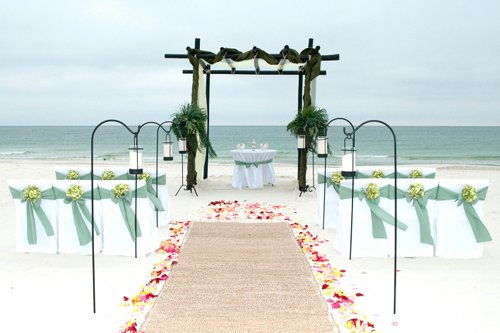 green beach wedding ceremony decor