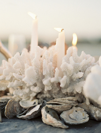 Coral Beach Wedding Centerpiece