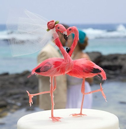 Flamingo beach theme cake topper