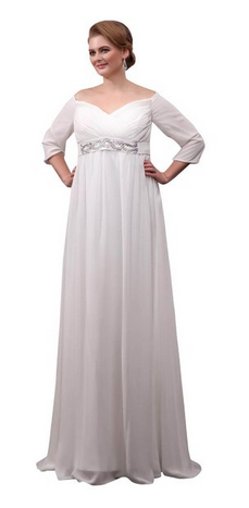 long sleeve beach wedding gown full figure