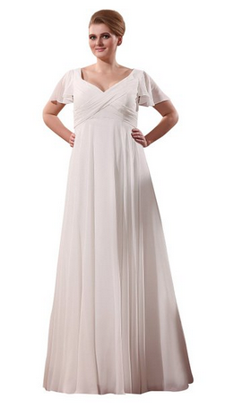 Chiffon beach wedding dress full figure