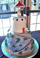 lighthouse beach themed wedding cakes