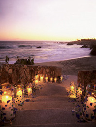 Lit Stairway to a beach wedding
