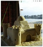 Sandcastle Beach Themed Wedding Cake