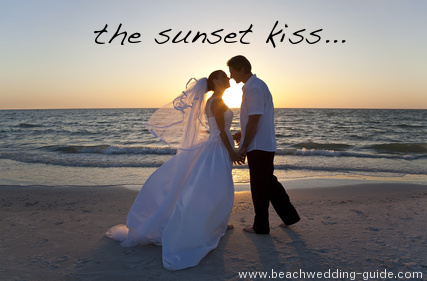 sunset wedding kiss