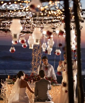 Hanging Lights Beach Wedding