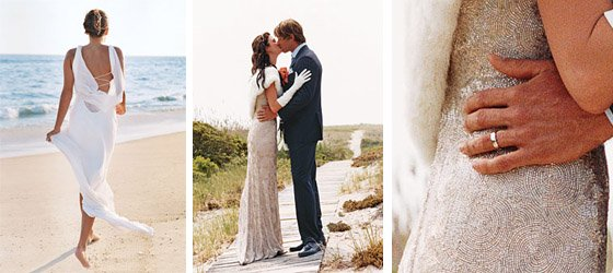 Boy figured beach wedding dress
