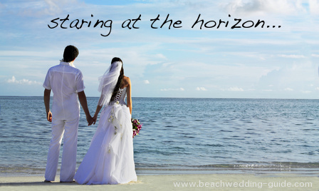 Beach wedding photos from behind