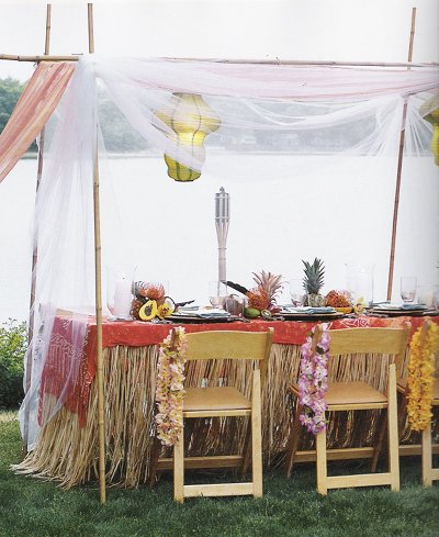 Gauzy, romantic tropical wedding decor